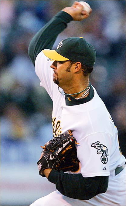 Esteban Loaiza deepened Boston's hole in the A.L. East by throwing seven scoreless innings in Oakland's 9-0 win over the Red Sox at McAfee Coliseum on August 28.  Loiaza has won five of his last six starts and allowed just two runs in his last 36 innings.