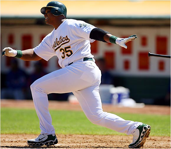 The A's Frank Thomas homered in five consecutive games, including a solo shot against the Rangers at McAfee Coliseum on Sept. 6.