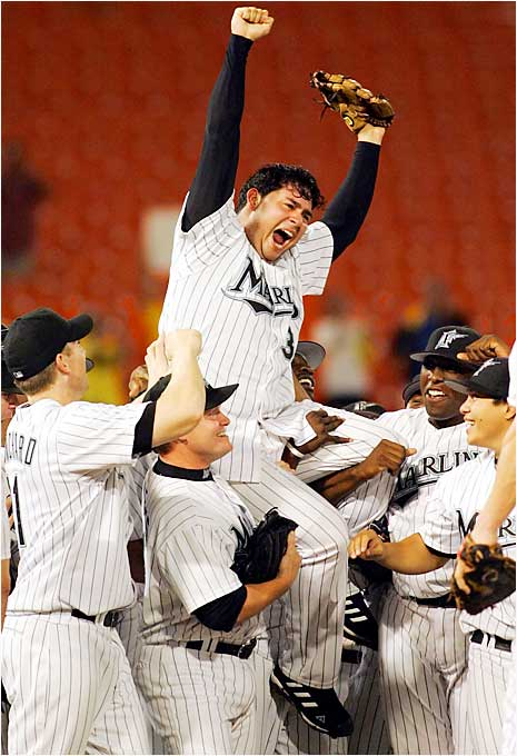 Marlins pitcher Anibal Sanchez celebrates his no-hitter over the Diamondbacks at Dolphin Stadium on Sept. 6. It was the first no-hitter since Randy Johnson pitched a perfect game for Arizona against the Braves on May 18, 2004.