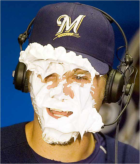 Brewers right fielder Corey Hart smiles after taking a pie in the face from teammate Geoff Jenkins during a postgame interview on Sept. 5. Hart hit two home runs with six RBIs in the Brewers' 9-0 win over the Dodgers.