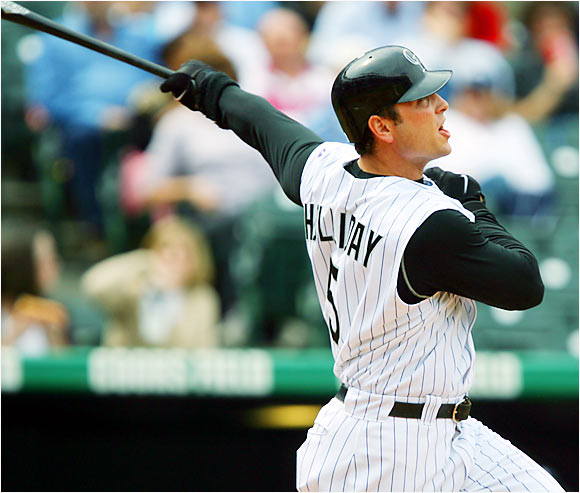 The Rockies' Matt Holliday hit a two-run homer off Nationals pitcher Pedro Astacio in the first inning of a 13-9 victory for the Rockies on Sunday. Holliday hit three homers with 10 RBIs over his last four games.