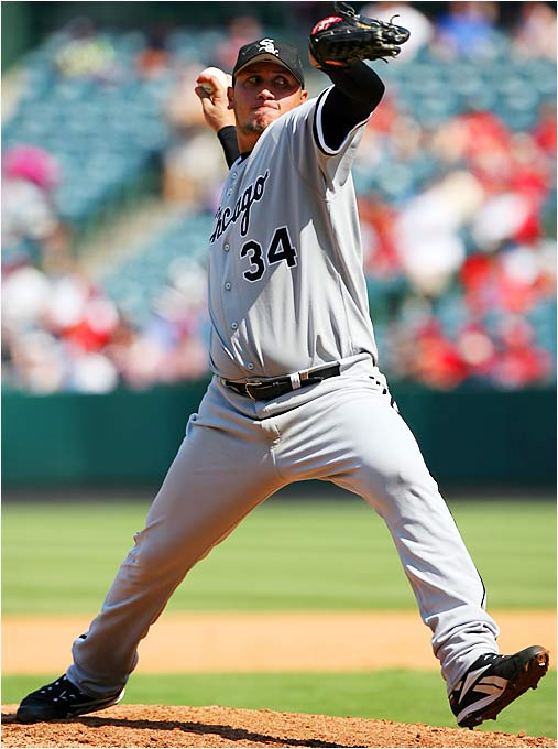 White Sox starter Freddy Garcia had a potential perfect game broken up with a base hit by the Angels' Adam Kennedy with two out in the eighth inning on Sept. 13. Garcia allowed only one hit and no walks over eight innings for the win.