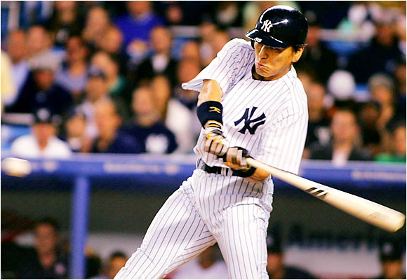 Hideki Matsui went 4 for 4 with a walk, two runs and an RBI against the Devil Rays on Sept. 12 in his first game back in the lineup since breaking his left wrist four months earlier.