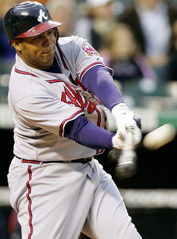 The Braves' Andruw Jones went 4 for 4 with four runs, two homers, three RBIs and a walk in a 10-9 loss to the Rockies on Saturday. He batted .409 with five dingers and 12 RBIs last week.
