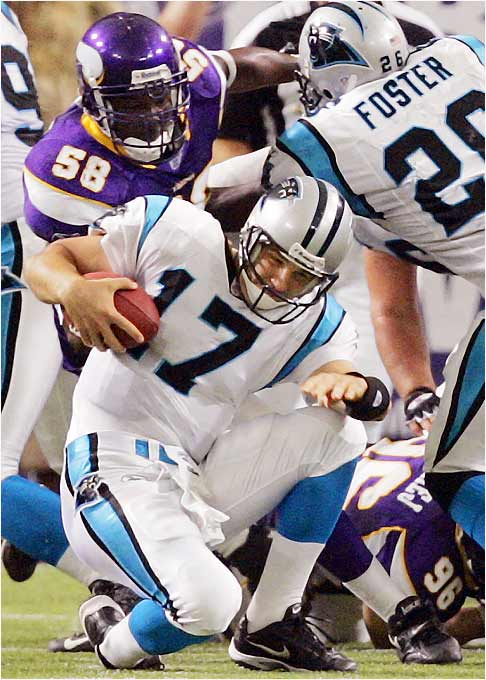 He has completed just 52.8 percent of his passes and has yet to throw a touchdown for the 0-2 Panthers. True, star receiver Steve Smith has been out, but Delhomme had been an effective passer before Smith arrived and there's no reason for him to have a meltdown without his top target.