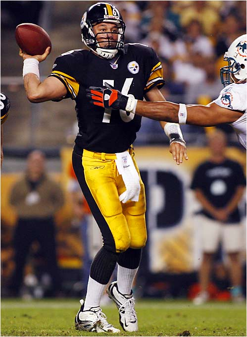 After throwing three touchdown passes and no interceptions in his emergency start against the Dolphins, quarterback Charlie Batch has more career games with three touchdowns and no interceptions as a Steeler (one) than Ben Roethlisberger (none), who has won 22 of 25 NFL starts.