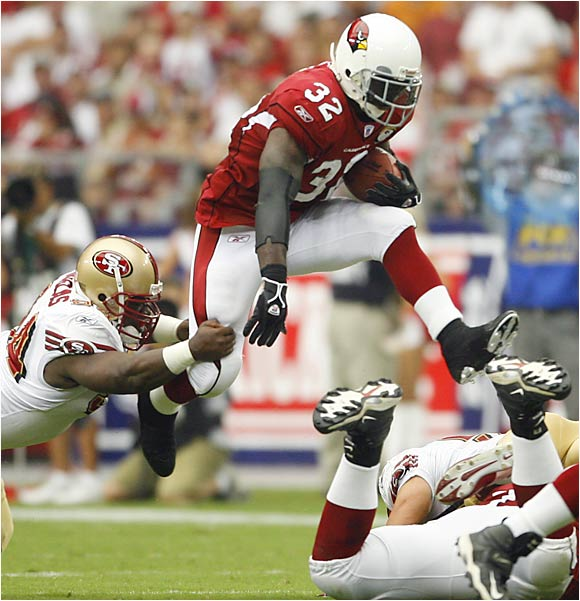 Edgerrin James on Sunday became the first Cardinals running back to rush for a first-quarter touchdown in nearly five years. James' one-yard TD run against the 49ers was the first of its kind for the Cardinals in 70 games, since Dec. 2, 2001, when Thomas Jones had a five-yarder against the Raiders in a 34-31 win.