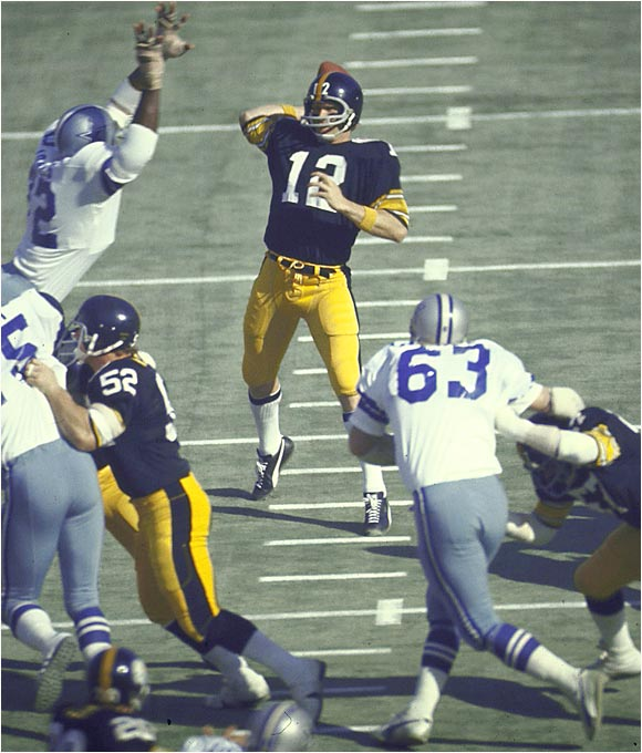 The brash gunslinger out of Louisiana Tech helped turn the Steelers from a struggling franchise into one of the greatest dynasties in NFL history. Bradshaw led Pittsburgh to four championships and was MVP of Super Bowls XIII and XIV.