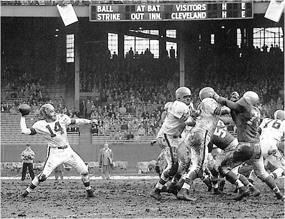 Perhaps the greatest winner of all time, Graham set the standard for quarterbacks in the 1940s and '50s. He led the Browns to 10 championship games in 10 years, seven of which they won.