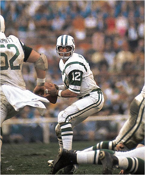 Broadway Joe took NFL stardom to a new level. After he guaranteed a Jets victory in Super Bowl III and delivered it against the highly favored Colts, Namath became a household name.