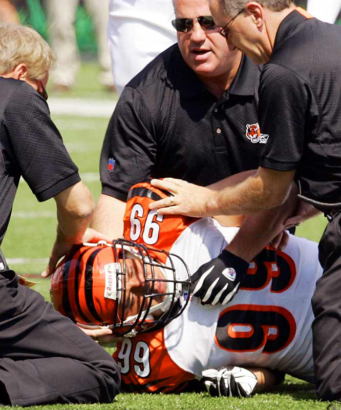 The Bengals linebacker gave the thumbs-up sign as he was being carried off the field in a Week 2 game against Cleveland. Though his neck injury didn't require surgery, it was severe enough to put him on injured reserve for the remainder of the season.