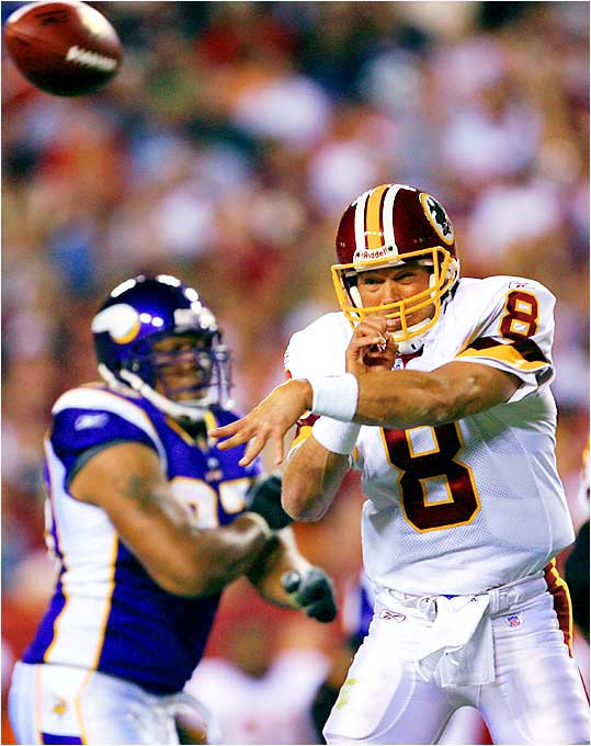 He was OK on paper -- 17 of 28 for 163 yards -- but didn't do much to get Redskins fans excited in their 19-16 loss to the Vikings. Brunell doesn't seem like he'll provide a consistent deep ball, which could be a problem. If the Redskins start out 0-2, expect a quarterback controversy in Washington.