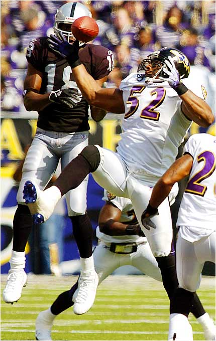 Ravens linebacker Ray Lewis intercepted a pass intended for Raiders receiver Randy Moss in the third quarter of Baltimore's 28-6 win on Sunday. The Ravens have not allowed a touchdown this season while the Raiders have yet to score one.