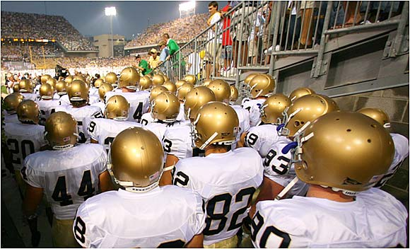 Fighting Irish about to take the field in their season opener against the Yellow Jackets.