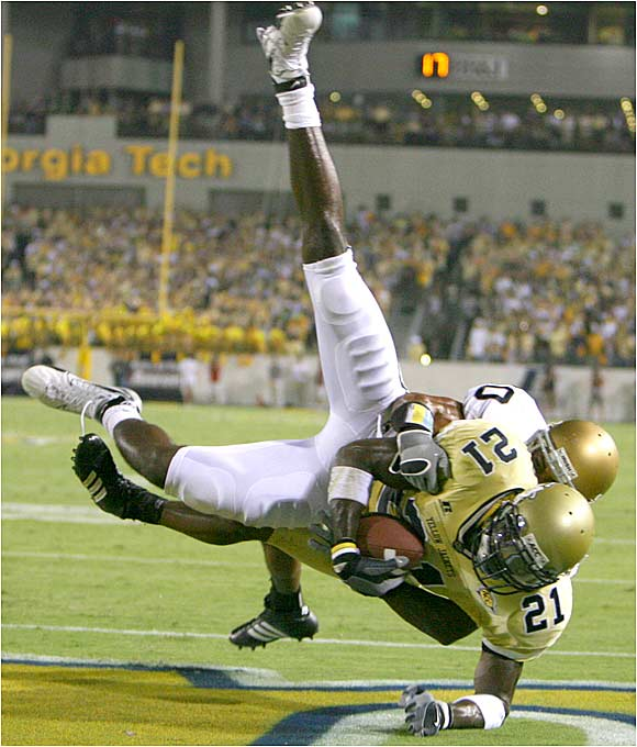Yellow Jackets receiver Calvin Johnson scoring the game's first touchdown. Johnson had seven catches for 111 yards.