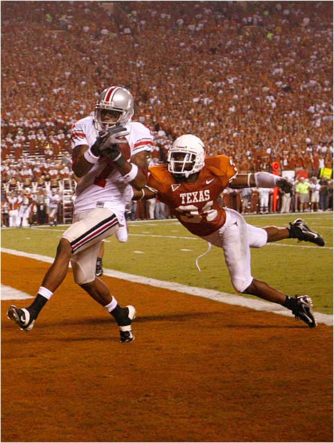 Ted Ginn Jr. of Ohio State beating Aaron Ross for key touchdown in Buckeyes surprisingly easy defeat of the Longhorns.