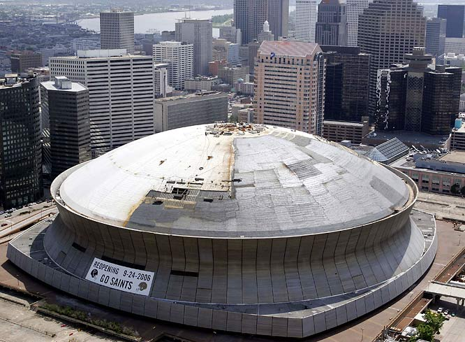 A building that offered so many shelter and later despair following Hurricane Katrina, the Superdome has had its roof repaired and its interior redone in preparation for the New Orleans Saints' home opener.