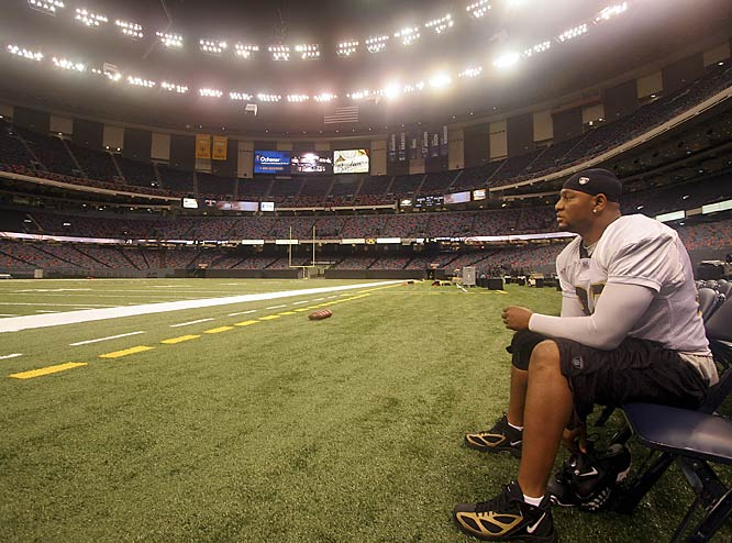 Deuce McAllister surveys the stadium before the Saints' practice on Sept. 22, the team's first workout there in more than a year.