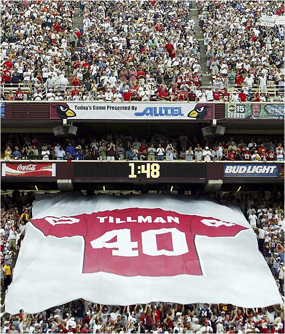 The Arizona Cardinals retired Tillman's number on Sept. 19, 2004.