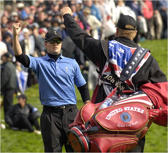 Zach Johnson provided one of the few highlights for the Americans, teaming with Scott Verplank for a 2 and 1 victory in the four-ball.