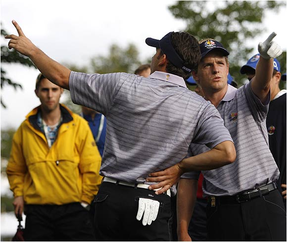 No matter which way they were pointing on Saturday, Luke Donald (right) and Sergio Garcia could do no wrong, knocking off Phil Mickelson and David Toms 2 and 1.