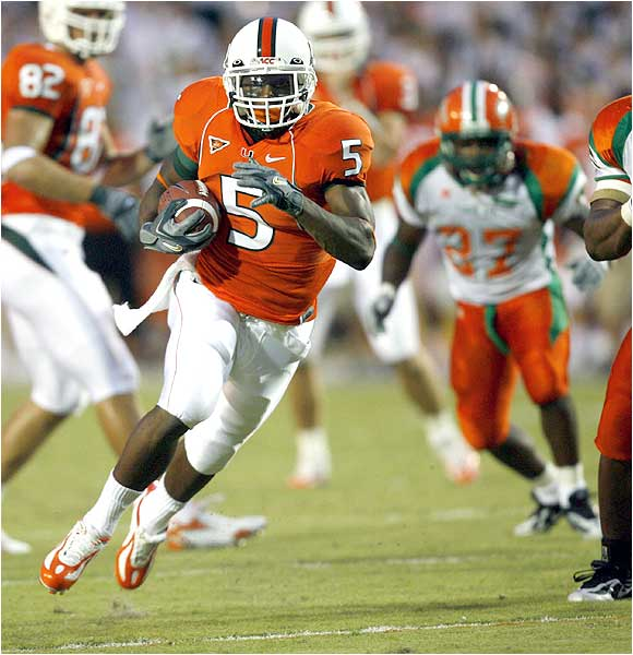 Javarris James (5) ran for 75 yards and a touchdown as the Hurricanes piled up 339 rushing yards.