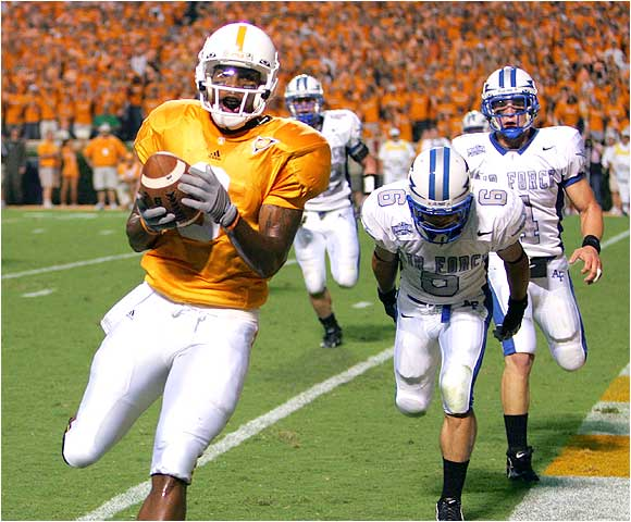 Robert Meachem (left) caught eight balls for 115 yards and two touchdowns as the Vols escaped the upset in Knoxville.