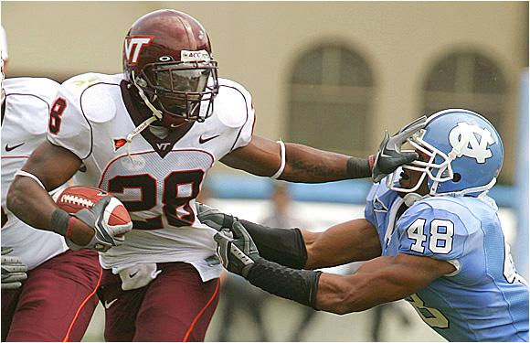Virginia Tech running back Brandon Ore tallied 111 yards and scored three TDs.