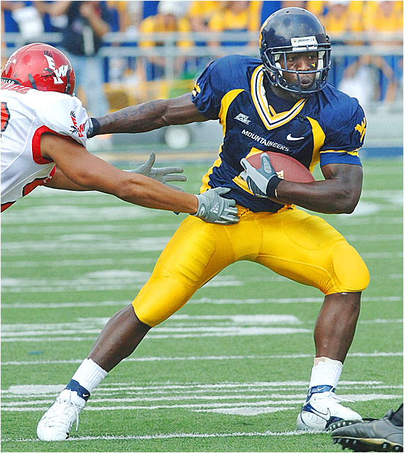 Darius Reynaud had three catches for 30 yards and one run for 20 yards in the Mountaineers' rout.