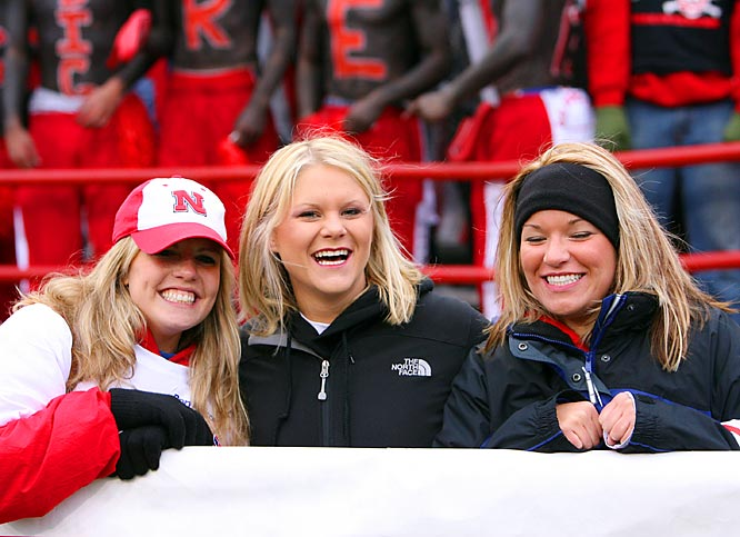 Early in the game, these Nebraska girls were all smiles after their Huskers took a 7-3 first quarter lead.