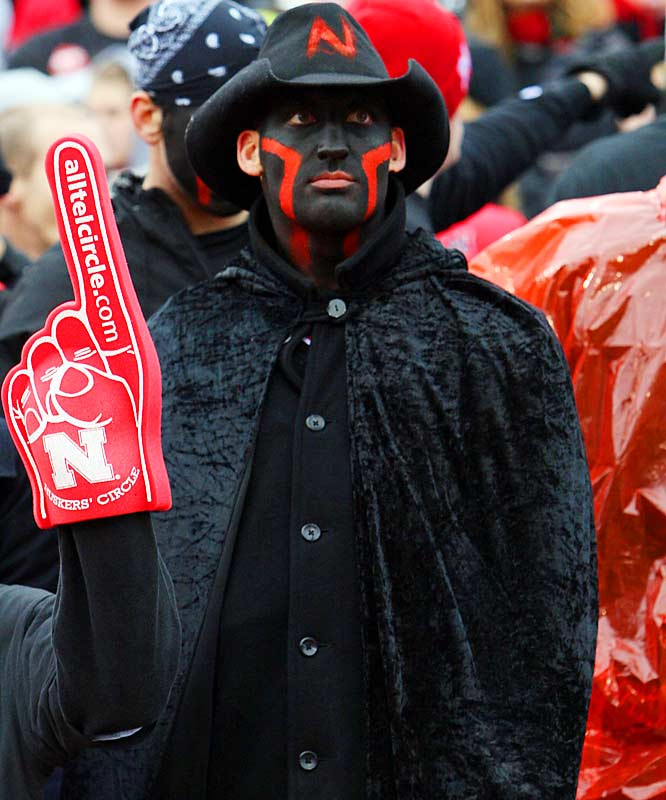 This fan was dressed like he was going to a funeral, and probably felt like he was leaving one after the Longhorns last-second victory over the Huskers.