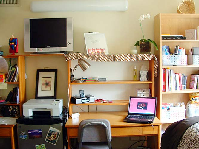 This is where all Alex's studying takes place. Notice the placement of the television -- a perfect spot for procrastination.