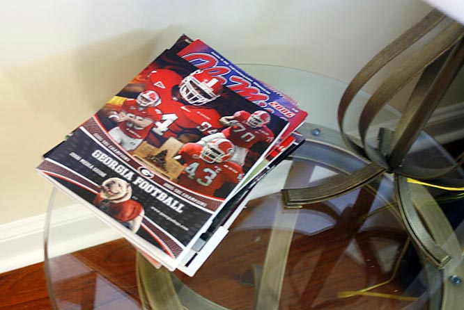 And, of course, a little reading material is necessary in the living room as well.
