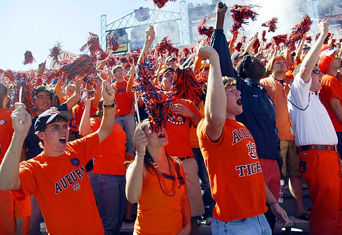 Auburn fans celebrated a second-quarter touchdown. Their joy would be short-lived as the Tigers fell to Arkansas, 27-10.