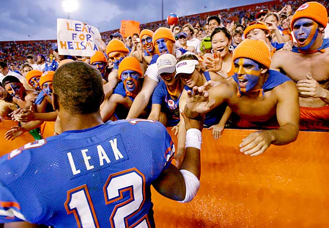 Florida quarterback Chris Leak celebrated with fans after the Gators defeated LSU, 23-10, at The Swamp on Saturday.