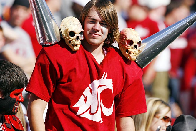 This Cougar fan seemed not to mind the four-foot spikes coming out of his shoulder.