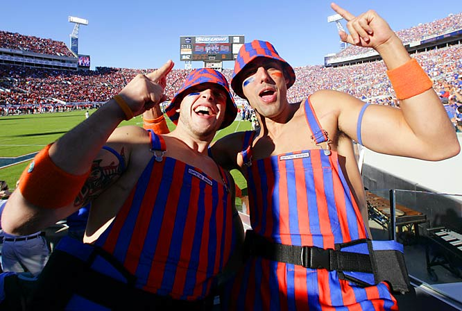 Anyone that wears a matching overalls-hat combination -- like these Florida fans -- is okay in our book.