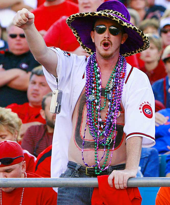 We don't want to know how this UGA fan earned all those beads, but he couldn't have been happy with the Dawgs 21-14 loss to Florida.