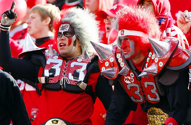 Ohio State fans put on the spikes to cheer James Laurinaitis and the rest of the Buckeyes during their 41-0 victory over Minnesota.