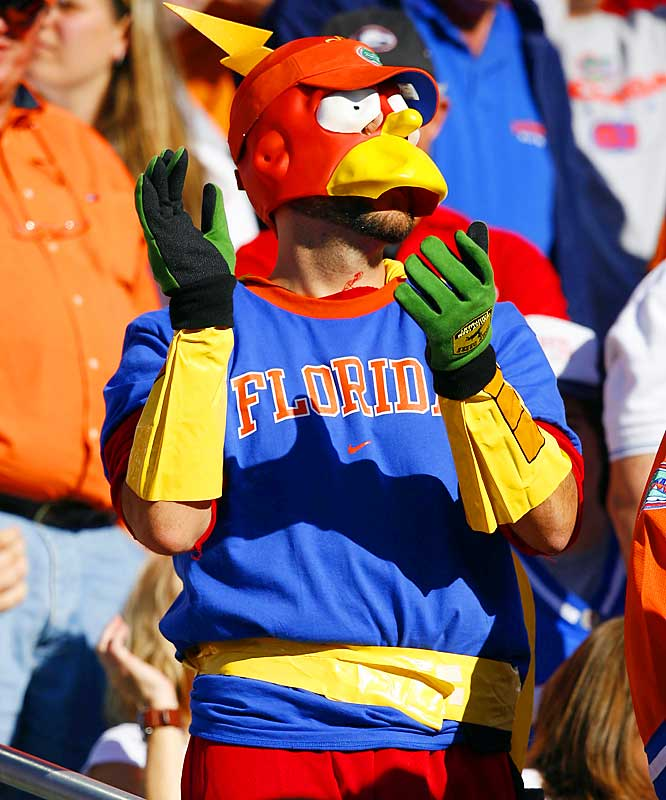A Florida fan cheers on the Gators during the second quarter of Saturday's victory over UGA. at Alltel Stadium.