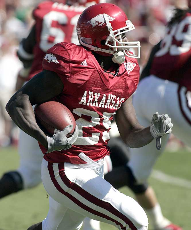 Felix Jones ran for 106 yards and a touchdown on five carries as the Razorbacks totaled 381 yards on the ground.