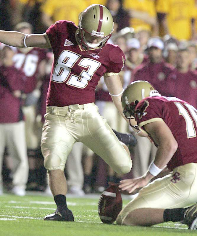 Eagles walk-on kicker Steve Aponavicius hit field goals of 36 and 20 yards and added two extra points as Boston College pulled the upset.