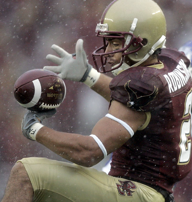 Keeping an eye on the ball was a difficult task for Brandon Robinson and his Boston College teammates during the torrential downpour at Alumni Stadium. The rain hardly slowed the Eagles, though, in a rout of Buffalo.