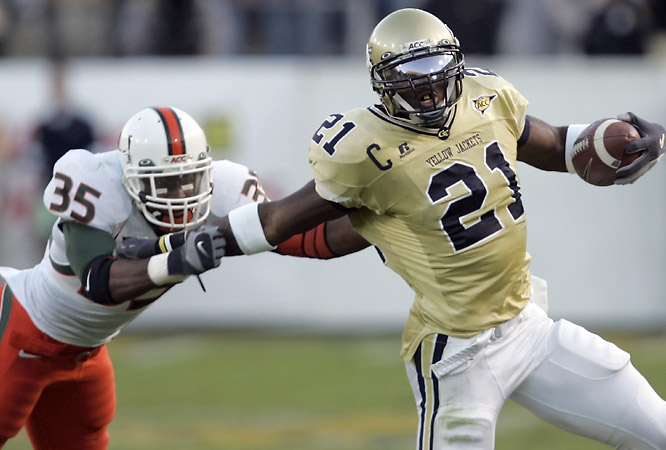 Georgia Tech wide receiver Calvin Johnson had a hat trick Saturday, catching a pass, throwing a pass and recording a carry in the Yellow Jackets' win over Miami.
