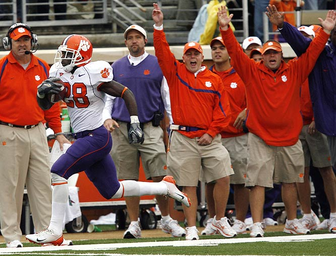 Clemson running back C.J. Spiller breaks free for a 72-yard go-ahead touchdown run to help the Tigers rally from a 14-point deficit and walk out of Winston-Salem with a hard-fought victory.