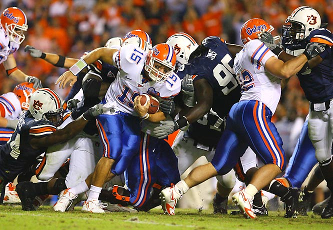 True freshman quarterback Tim Tebow earned tough yardage for Florida, gaining 18 on three carries, including a 16-yard touchdown run.