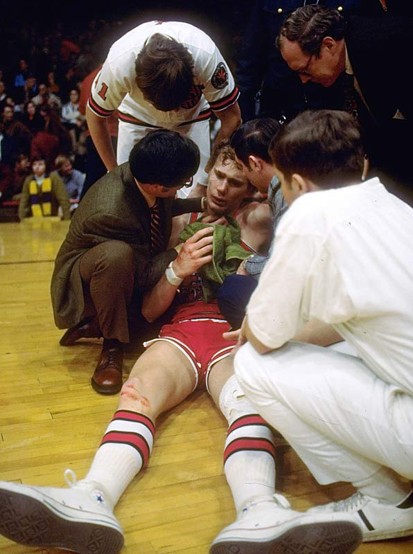 During a basketball game in Minnesota in 1972, Ohio State's Luke Witte (pictured) was kneed in the groin by Corky Taylor while going up for a layup. Taylor then hit Witte in the head, and Minnesota's Ron Behagen kicked Witte while he was still on the floor. Taylor and Behagen were suspended for the remainder of the season.