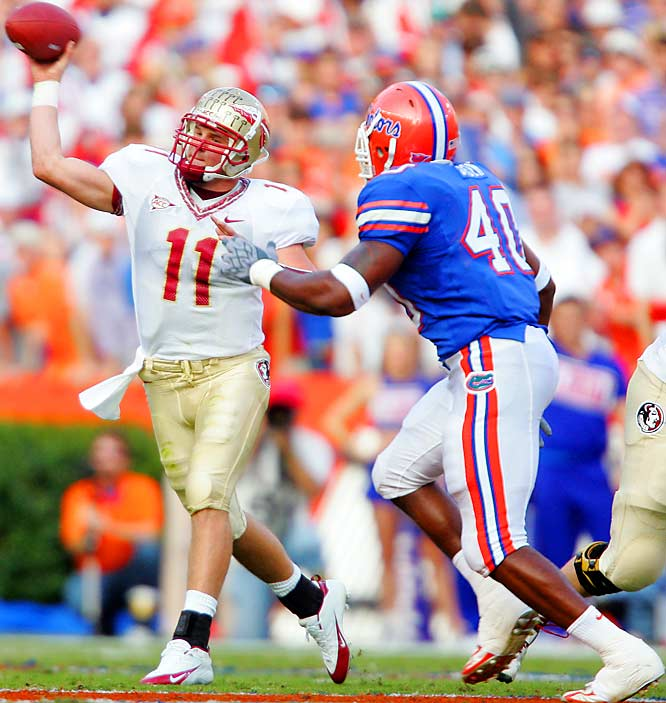 This is the Gators' last game of the regular season, and if they're still undefeated, their national-championship aspirations will be on the line in this showdown with the Seminoles. After last season's 34-7 loss, the 'Noles will be hungry for revenge.