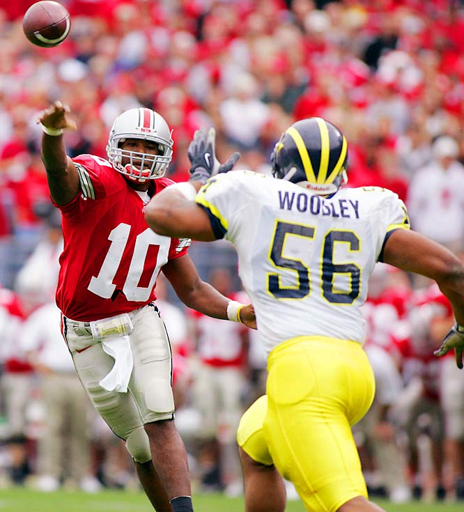 It's been 33 years since archrivals Michigan and Ohio State faced off undefeated and untied, but halfway through this season both teams boast a 6-0 record. Ohio State faces a fairly simple schedule leading up to The Game, but Michigan must play at Penn State and host Iowa in the next two weeks (and it may not have injured superstar Mario Manningham for either game). If both teams make it through unscathed, this has the potential to be the game of the millennium.