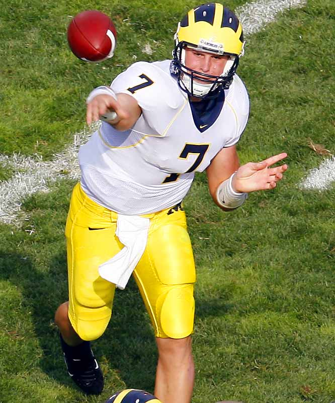 After an encouraging freshman year, Henne caught a lot of flak during his sophomore campaign (when Michigan stumbled to a 7-5 mark). But the 6-2, 223-pounder is throwing the ball better than ever. Henne's always had a big arm, but this season he has showcased pinpoint accuracy. At this point, it's hard to say who is more important to Michigan's success: stud RB Mike Hart or Henne.